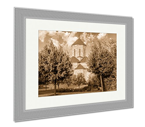 Ashley Framed Prints The Chapel Surrounded By Lush Garden Located Adjacent To The Holy Trinity, Wall Art Home Decoration, Sepia, 34x40 (frame size), Silver Frame, - Chapel Street Shops In