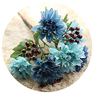 Diremo 6 Heads Artificial Flower Berry Silk Fake Rose Flower Wedding & Home Decor Simulation Flower Vi,Blue 83