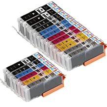 18 Pack - Compatible Ink Cartridges for Canon PGI-250 & CLI-251 XL Inkjet Cartridge Compatible With Canon PIXMA MG-5450 MG-5520 MG-6320 MG-6350 MG-6420 MG-7120 MG-7150 iP7250 iP8720 iP8750