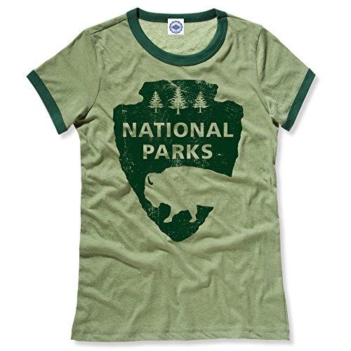 Vintage Ringer Tee - Hank Player U.S.A. National Parks Women's Ringer T-Shirt (XL, Heather Green)