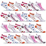 Womens 24 Pack of Lightweight Fun, Funky and Colorful Anklet Ankle Socks