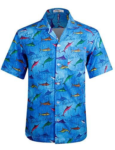 (Men's Hawaiian Shirt 4 Way Stretch Regular Fit Beach Floral Aloha Shirts (S, HW002-swordfish))