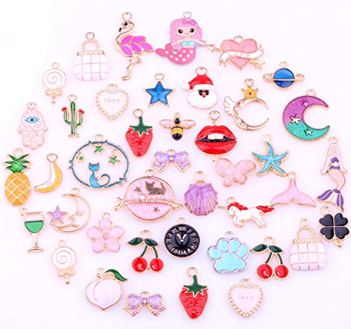 50 Pieces Alloy Enamel Cute Mix Shape Mermaids Animals Girls Charm Pendant DIY Jewelry Making Ear Hook Bracelet Necklace Christmas Decoration
