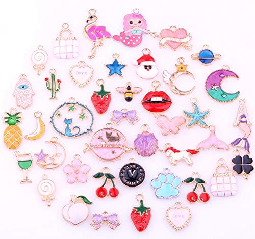 (50 Pieces Alloy Enamel Cute Mix Shape Mermaids Animals Girls Charm Pendant DIY Jewelry Making Ear Hook Bracelet Necklace Christmas Decoration)