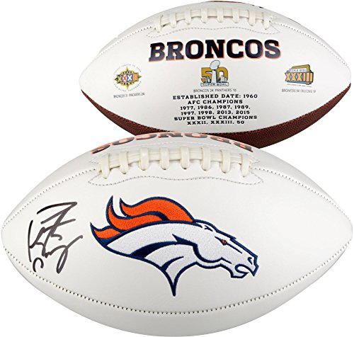 Peyton Manning Denver Broncos Autographed 2016 White Panel Football - Fanatics Authentic Certified - Autographed Footballs - Manning Signed Football