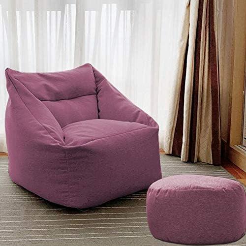 ビーンバッグチェア そして オットマンセット ラウンジャー 寮の椅子 にとって リクライニング ソファー ベッド ホーム、 オフィス 子供部屋 CJC (Color : Apricot, Size : Chair+footstool)