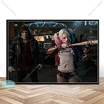 Kein Rahmen zhuziji DIY Malen nach Zahlen Harley Quinn Mit Pinsel und Acrylfarbe /Ölgem/älde Leinwand Kits Erwachsenenfarbe Geeignet f/ür die Dekoration im Wohnzimmer50x70cm