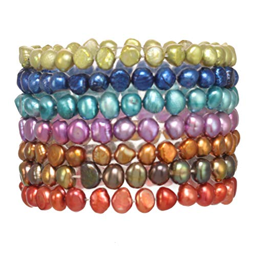 (7 Piece Multi Color Baroque Cultured Freshwater Pearl Stretch Bracelet Set)