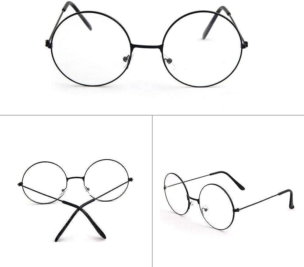 Klassische Vintage-Brille f/ür Damen und Herren klare Gl/äser 3 St/ück rund