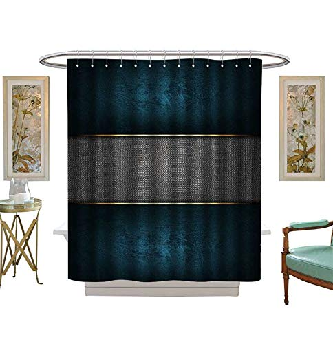 Miki Da Shower Curtains Fabric The Template for The Inscription Blue Background with a Metal nameplate. Bathroom Decor Set with Hooks Size:W72 x L96 inch -