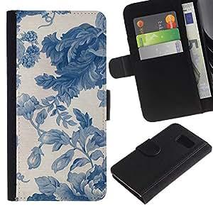 EJOY---La carpeta del tirón la caja de cuero de alta calidad de la PU Caso protector / Samsung Galaxy S6 / --Viñeta azul porcelana Wallpaper