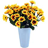 Kinwell Sunflowers Silk Artificial Flowers Floral Decor Bouquet Small Head 10 Bunches,for Home Decor and Wedding Decorations