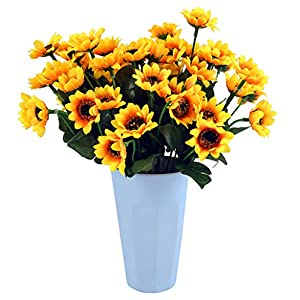 KINWELL 10 Bunches Silk Artificial Sunflowers Bouquet Fake Sunflower Decorations for Home Decor and Wedding Decorations 90