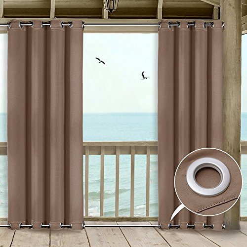 NICETOWN Porch Curtains Outdoor Waterproof - Thermal Insulated Top and Bottom Grommet Blackout Indoor Outdoor Curtain/Drape for Pergola, Wind-Break (1 Panel,52 by 84-Inch, Tan-Khaki) (Curtains Sun Porch)