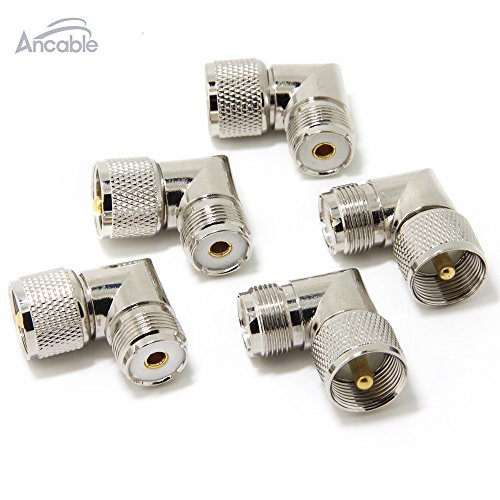 Ancable UHF PL-259 Male to UHF PL-259 Female L Shape Right Angle 90 Degree RF Coaxial Adapter Connector for CB Ham Radio Antenna Pack of 5