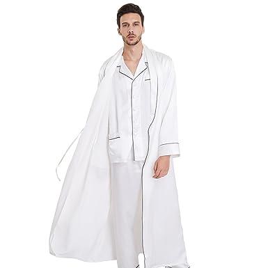 Lilysilk Conjunto de Pijamas y Batas para Hombre Estilo de Negociación 100% Seda de Mora Natural de 22 Momme, Blanco XXXL: Amazon.es: Ropa y accesorios