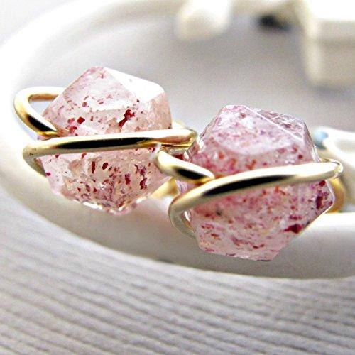 Raw Strawberry Quartz Studs, Gemstone Earrings Studs, 14kt Gold Fill, Rough Quartz Earrings, Crystal Earrings, Quartz Studs, Gemstone Earrings, Gold Earrings, Gold Studs