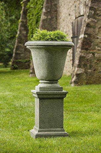 Cast Pedestal Stone Campania - Campania International Rustic Hampton Urn with Pedestal, Alpine Stone Finish