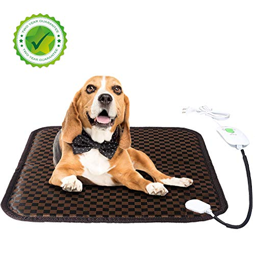 - JYBL Pet Heating Pad-Animal Warming Mat-Auto Power Off & Waterproof Electric Heated Bed with Chew Resistant Steel Cord for Indoor Outdoor Dogs, Cats, Rabbits(17.7''×17.7'')