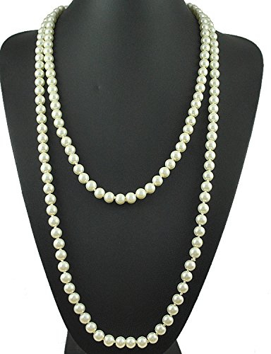 Flapper Beads Cluster Long Pearl Necklace Great Gatsby 55