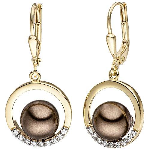 Jobo-Boucles d'Oreilles Pendantes Or jaune 333bicolore avec sombre perles et Zirconium Boucles d'oreilles
