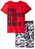 Team8 Boys' 2 Piece Set Short Sleeve Graphic Tee with Camo French Terry Short