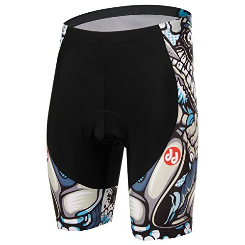 TeyxoCo Men Cycling Cartoon Skull Sportwear Padded Shorts XXXL