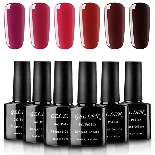 Gellen Wine Red Series Gel Nail Polish Set, Pack of 6 Colors, Capacity 10ml Each