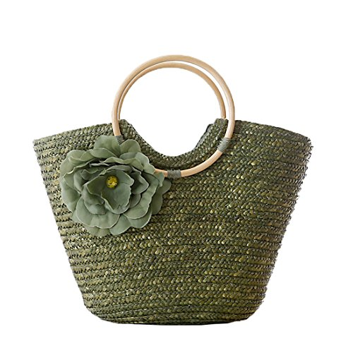 Handle Summer Handbag Bag For Beach Women Straw Portable Tote Boomly Woven Bag Kids Rattan Flower Green Girls 5108xqfw