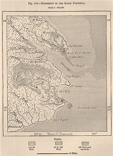 Gaspe Canada Map.Extremity Of The Gaspe Peninsula Canada 1885 Old Map Antique