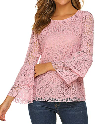 Tobrief Women's Sexy Hollow Out Lace Blouse Long Sleeve Flare Top(Pink,M)