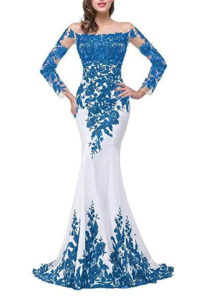 bluee Yuki Isabelle Women's Lace Appliques Mother of The Bride Dress Formal Wedding Evening Gowns with Sleeves