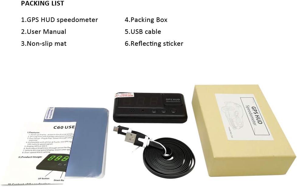 kingneed C60/Digital Auto HUD GPS Tacho Overspeed Alarm Schwarz