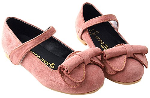 Milky Walk Stitch And Rolling Bow Girl's Mary Jane Flat Shoes (Toddler/Little Kid) (9.5 M US Toddler, Pink)