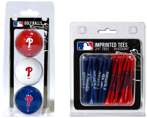 Team Golf MLB Philadelphia Phillies Logo Imprinted Golf Balls (3 Count) & 2-3/4
