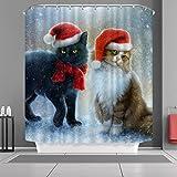 "VANCAR Christmas Shower Curtain Lovely Cat with Christmas Hat Waterproof Shower Curtain for Bathroom Decoration Home Decor 66""X72"""