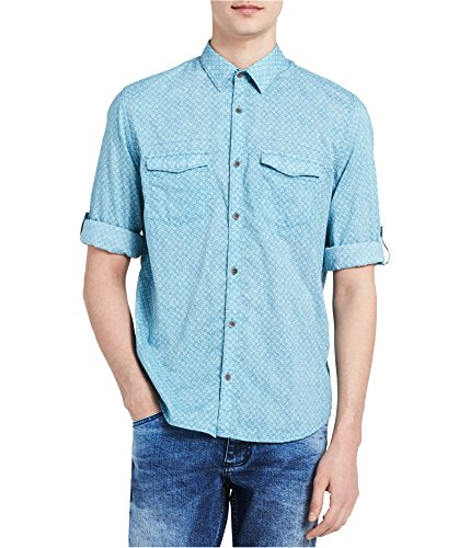 - Calvin Klein Jeans Men's Long Sleeve Roll Tab Floral Print On Voile Button Down Shirt, Storm Blue, Large