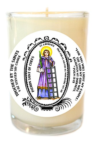 St Lawrence Patron of Chefs 8 Oz Scented Soy Glass Prayer Candle by Touched By The Saints