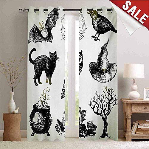 Vintage Halloween Waterproof Window Curtain Halloween Related Pictures Drawn by Hand Raven Owl Spider Black Cat Decorative Curtains for Living Room W96 x L108 Inch Black White]()