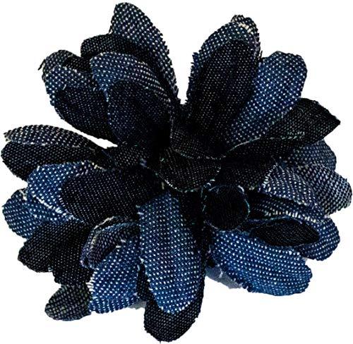 Mia Denim Jean Flower Hair Clip, Hair Barrette, Petals Made of Dark and Light Blue Denim, Beautiful, Pretty, Cute for Women and Girls 1 pc