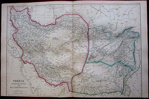 (Persia Iran Afghanistan Baluchistan 1860's Weller detailed antique map )