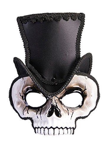 Sir Steampunk Skull Venetian Style Mask Black Hat Victorian Costume Accessory (Victorian Face Masks)