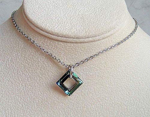 Diagonal Of A Square - Bermuda Blue Diagonal Square Pendant 18 Inch Necklace Made With Swarovski Crystal Gift Idea SS