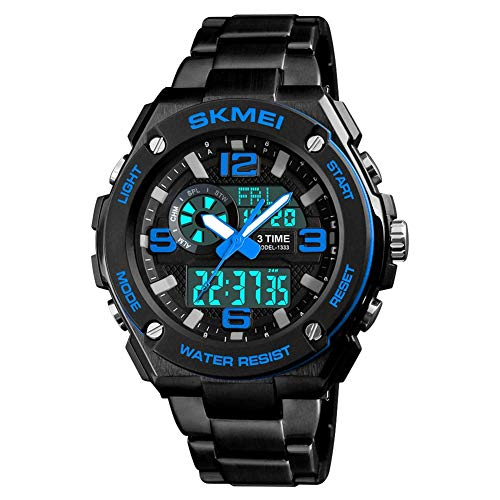 DYR Fashion Steel Strap with Dual Display Electronic Watch Men's Student Three time Countdown Alarm Clock Sports Watch