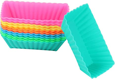 BleuMoo Silicone Rectangle Cake Muffin Cupcake Liner Chocolate Bake Cup Mold