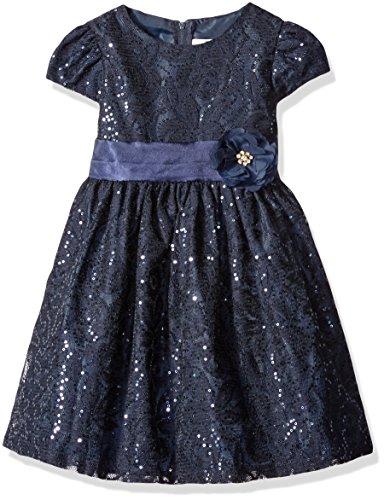 Rare Editions Little Girls' Lace Dress, Navy, 6X