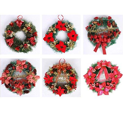 Iusun 1Pcs Christmas Leaf Fall Wreath Door Wall Ornament Thanksgiving Day Xmas Decor 12 Inch (Red) (Wreath Christmas Cartoon)