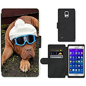 Super Stella Cell Phone Card Slot PU Leather Wallet Case // M00104073 Dog Pet Winter Cap Woollen Goggles // Samsung Galaxy Note 4 IV