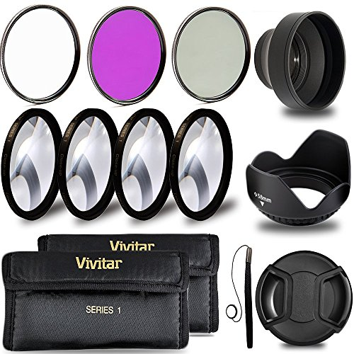 Professional 58MM Lens Filter and Close-Up Macro Accessory Kit, 9 Piece Compact Photography Accessories For Canon (Macro Filter 58mm)