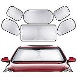 Car Sun Shades, BeiLan Car Seat Window Windshield Rear Car Window Sun Shade Block Easy Twist Folding Car Sun Block with UV Protective (6Pieces)